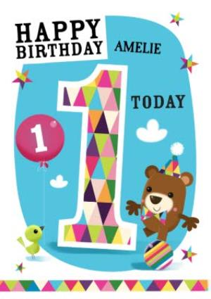 Greeting Cards - Little Balancing Bear Personalised Happy 1st Birthday Card - Image 1