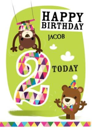 Greeting Cards - Playful Trapeze Bears Personalised Happy 2nd Birthday Card - Image 1