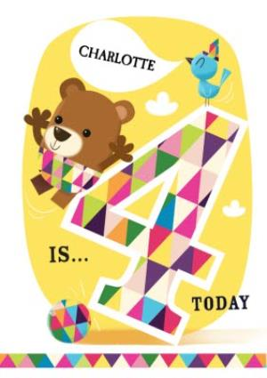 Greeting Cards - Balancing Bear And Friends Happy 4th Birthday Card - Image 1