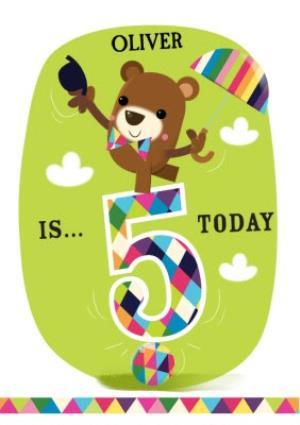 Greeting Cards - Balancing Bear Personalised Happy 5th Birthday Card - Image 1