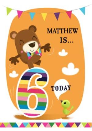 Greeting Cards - Balancing Bear Personalised 6th Birthday Card - Image 1