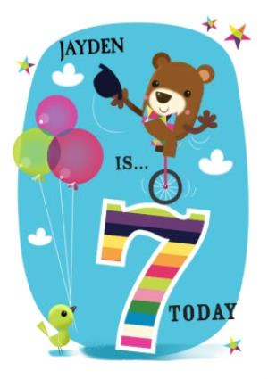 Greeting Cards - Balancing Bear Personalised Happy 7th Birthday Card - Image 1
