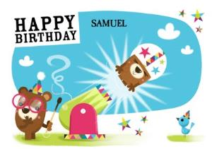 Greeting Cards - Bear Out Of A Cannon Personalised Happy Birthday Card - Image 1
