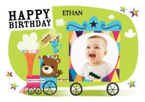 Greeting Cards - Baby Bear Train Ride Personalised Photo Upload Happy Birthday Card - Image 1