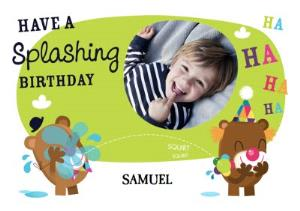Greeting Cards - Clown Bear Splashing Personalised Photo Upload Happy Birthday Card - Image 1