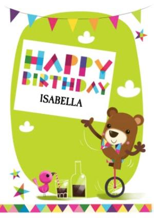 Greeting Cards - Circus Bear On Unicycle Personalised Happy Birthday Card - Image 1