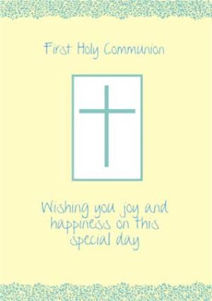 Greeting Cards - Lemon And Green Personalised First Holy Communion Card - Image 1