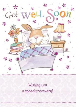 Greeting Cards - Bunny In Bed Personalised Get Well Soon Card - Image 1