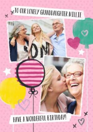 Greeting Cards - Bright Balloons Happy Birthday Granddaughter Photo Card - Image 1