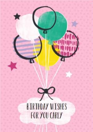 Pink Birthday Wishes And Balloons For You Personalised Card