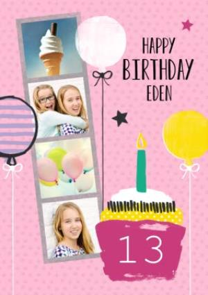 Greeting Cards - Bright Pink Balloons And Cupcake Happy Birthday Photo Card - Image 1