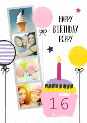 Greeting Cards - Cake And Candles Personalised Photo Upload Happy 16th Birthday Card - Image 1