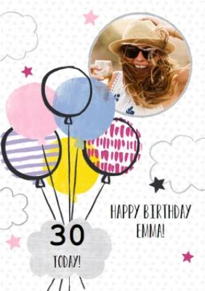Greeting Cards - Balloons And Clouds Personalised Photo Upload Happy 30th Birthday Card - Image 1