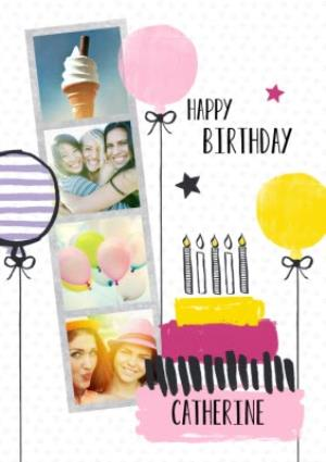 Greeting Cards - Bright Balloons And Cake Happy Birthday Photo Card - Image 1