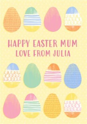 Greeting Cards - Bright And Colourful Eggs Personalised Happy Easter Card For Mum - Image 1