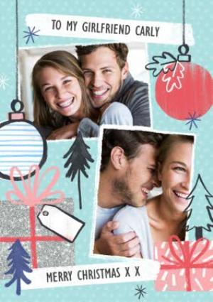 Greeting Cards - Mint, Red And Sparkle Personalised Double Photo Upload Merry Christmas Card - Image 1