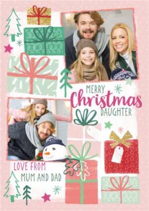 Greeting Cards - Christmas Wishes Pink Photo Upload Christmas Card - Image 1