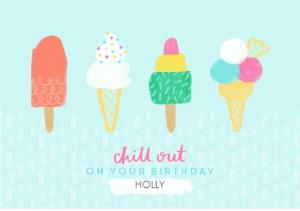 Greeting Cards - Female Birthday card - ice creams - food - Image 1
