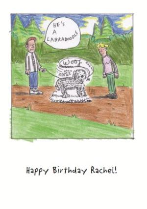 Greeting Cards - Cartoon Hes A Labradoodle Personalised Birthday Card - Image 1