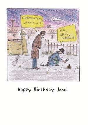 Greeting Cards - Cartoon Sherlock Personalised Birthday Card - Image 1
