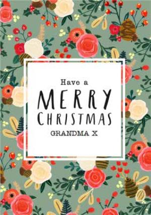 Greeting Cards - Pine And Flowers Personalised Merry Christmas Card For Grandma - Image 1