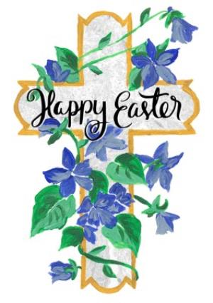 Greeting Cards - Cross And Bluebells Personalised Happy Easter Card - Image 1