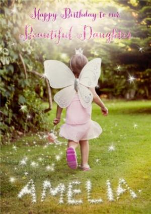 Greeting Cards - Fairy Girl In The Garden Personalised Happy Birthday Card For Daughter - Image 1