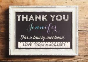 Greeting Cards - Chalkboard Style Frame Personalised Thank You Card - Image 1
