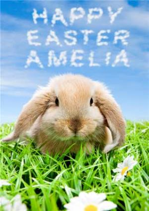 Greeting Cards - Bunny And Name In The Clouds Personalised Happy Easter Card - Image 1