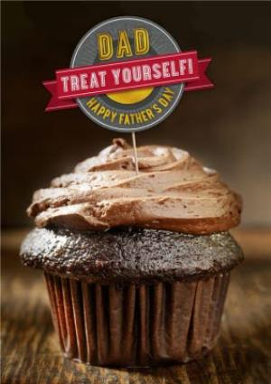 Greeting Cards - Chocolate Cupcake Treat Personalised Happy Father's Day Card - Image 1