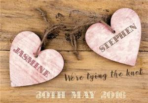 Greeting Cards - Antique Wooden Hearts Personalised Save The Date Card - Image 1