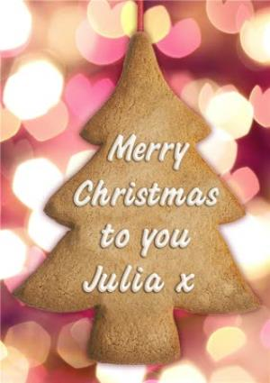 Greeting Cards - Christmas Tree Biscuit Decoration Personalised Merry Christmas Card - Image 1