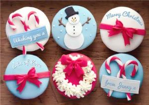 Greeting Cards - Festive Cupcakes Personalised Merry Christmas Card - Image 1