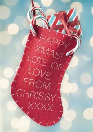 Greeting Cards - Happy Xmas Stocking Personalised Happy Christmas Card - Image 1