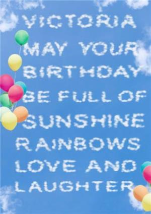 Personalised Cloud Writing Happy Birthday Card
