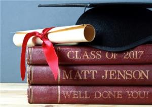 Greeting Cards - Books and Mortar Board - Custom Graduation Congratulations Card - Image 1