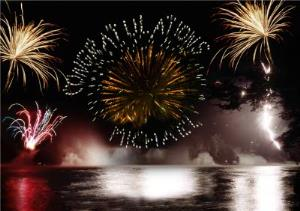 Greeting Cards - Your Name In Fireworks Personalised Congratulations Card - Image 1