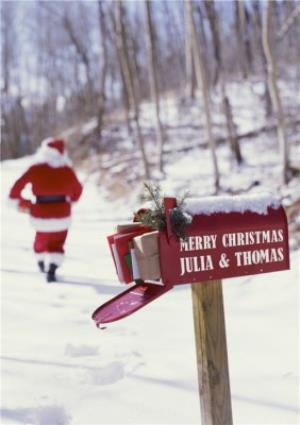 Greeting Cards - Santa And The Mailbox Personalised Happy Christmas Card - Image 1