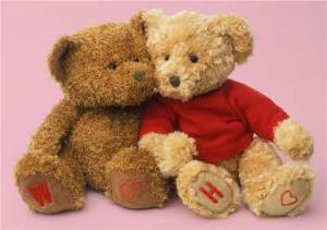 Greeting Cards - Teddy Bear Couple With Personalised Initials Valentine's Day Card - Image 1