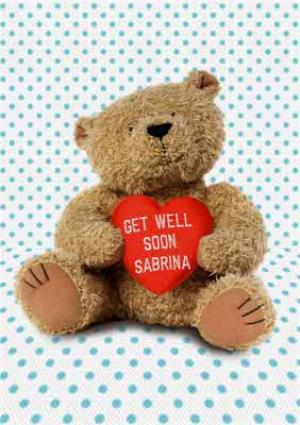 Greeting Cards - Spots And Cuddly Bear With Personalised Heart Get Well Soon Card - Image 1