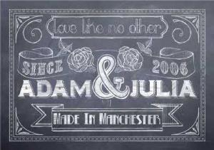 Greeting Cards - Chalkboard Personalised Names Wedding Card - Image 1