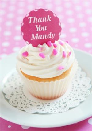 Greeting Cards - Cupcake With Message On Top Personalised Happy Birthday Card - Image 1