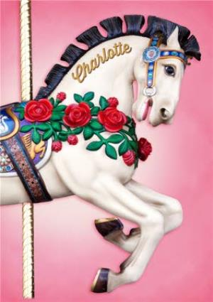 Greeting Cards - Carousel Horse With Name On It Personalised Birthday Card - Image 1