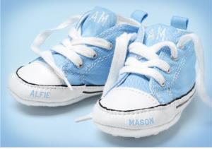 Greeting Cards - Congratulations New Baby Card - Blue Baby Shoes With Babies Name On Them. - Image 1