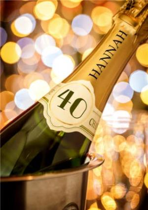 Greeting Cards - 40th Birthday Card - Champagne - Image 1