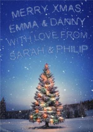 Greeting Cards - Coloured Lights On Christmas Tree With Message In The Sky Personalised Christmas Card - Image 1