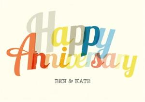 Greeting Cards - Colourful Letters Personalised Happy Anniversary Card - Image 1