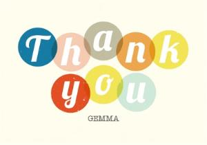 Greeting Cards - Lemon And Colourful Spots Personalised Thank You Card - Image 1