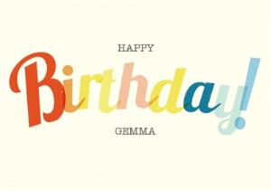 Greeting Cards - Classic Colourful Lettering Personalised Happy Birthday Card - Image 1