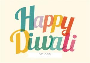 Greeting Cards - Colourful Letters Personalised Happy Diwali Card - Image 1